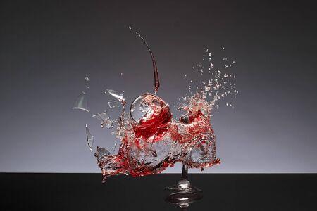 glass break: Splashing broken process of wine glass Stock Photo