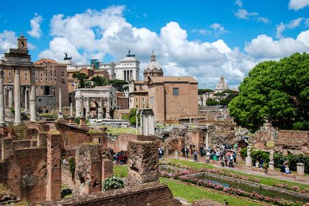 vestal: Rome, Roman forum. View from House of the Vestal.