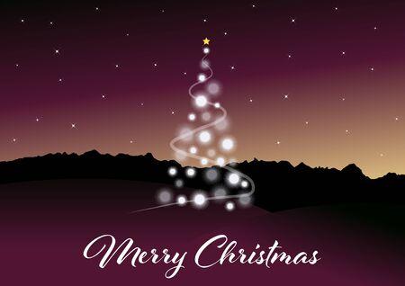 夜のクリスマス ツリーでメリー クリスマスのグリーティング カード  イラスト・ベクター素材