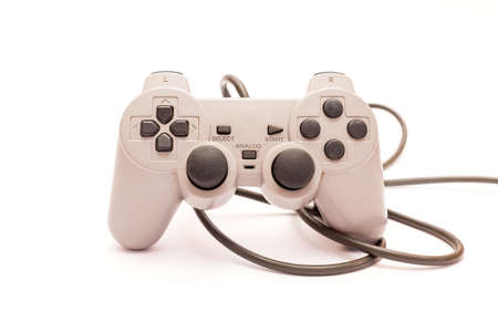 the gamepad: Old gamepad isolated on a white background. Stock Photo