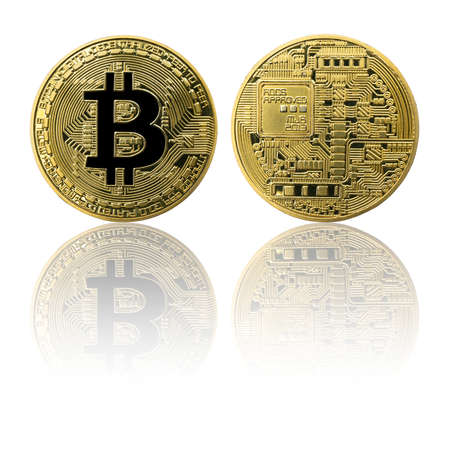Physical Bitcoin gold coin (BTC) isolated on white background with reflection. Cryptocurrency. Obverse and reverse sides. 版權商用圖片