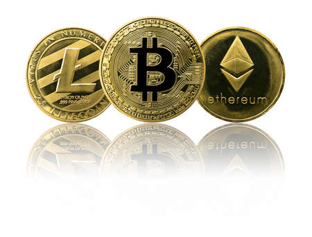 Physical Bitcoin, Litecoin and Ethereum gold coins (BTC, ETH, LTC) isolated on white background with reflection. Cryptocurrency.