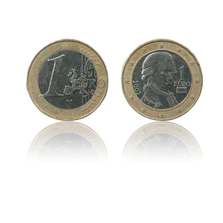 European Union currency 1 e coin (EUR or