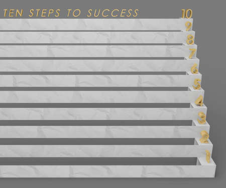 ten: ten steps to success with gold numerals stairs 3D illustration