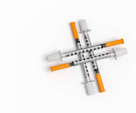 medical illustration: medical syringes medical cross 3D illustration