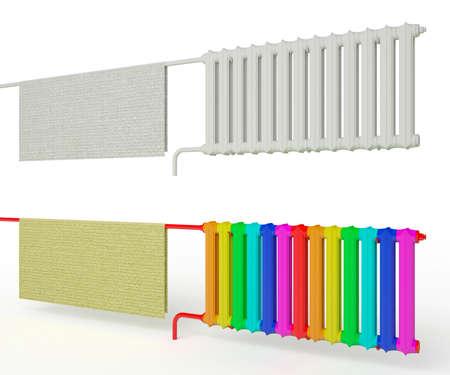radiator: radiador de color con una pintura de arco iris ilustración 3D del radiador paño Foto de archivo