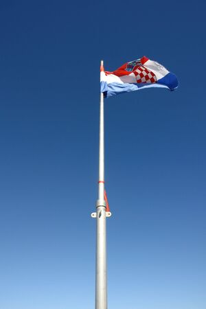 Flagpole with the Croatian flag Stock Photo