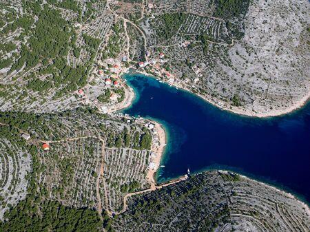 Aerial photo of the island Zirje, Croatia
