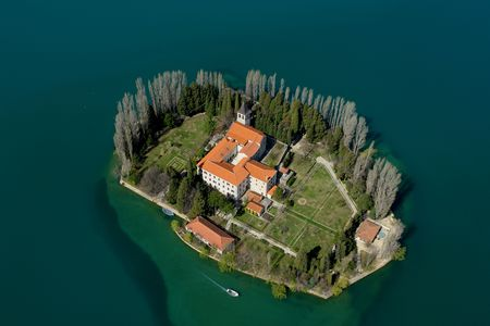 franciscan: The Franciscan monastery of Our Lady of Mercy on the isle of Visovac, aerial view