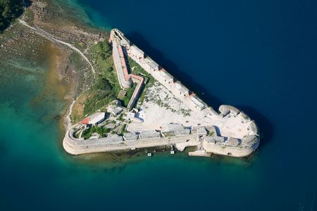 Aerial photo of the St. Nicholas fort in Sibenik  Croatia Stock Photo