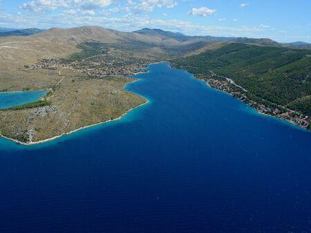 Aerial photo of the Grebastica Bay near Sibenik, Croatia