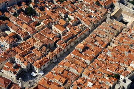 Aerial photo of the town Dubrovnik in Croatia Stock Photo
