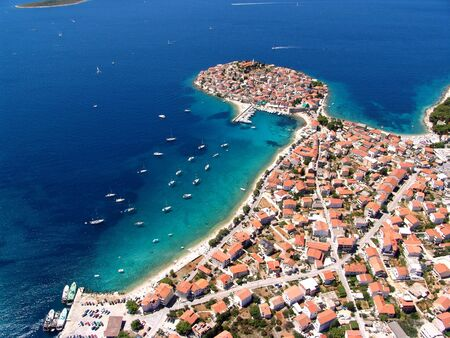 Aerial photo of the town Primosten in Croatia