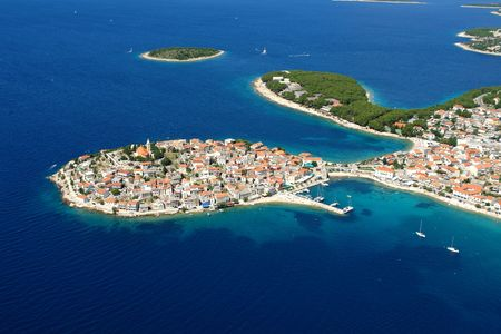 Aerial photo of the town Primosten in Croatia Stock Photo
