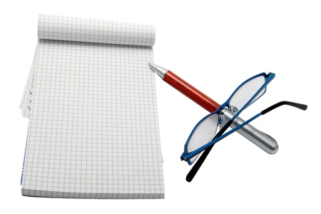notebook with pen and glasses  photo