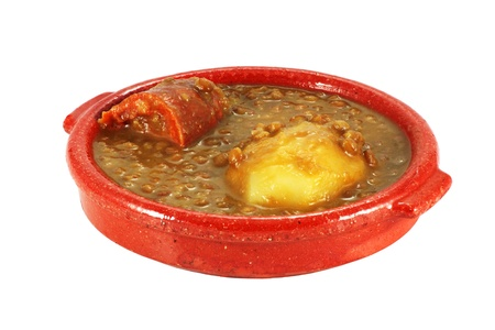 lentil stew with potatoes and sausage cut with work path Stock Photo - 12932369