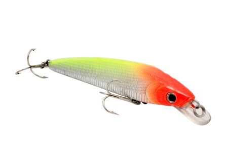 imitation of fish lure for fishing for red and green colors with fishhooks triple cut and isolated photo