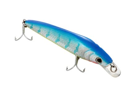 decoy: decoy imitation of fish for the fishing of colors blue and red with silver triple hooks cut and isolated