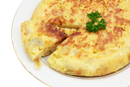 tortilla: recipe for spanish omelet made with potatoes and egg trimmed and isolated Stock Photo