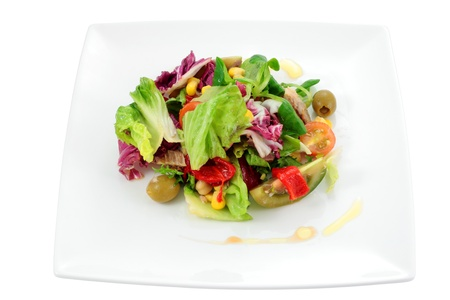 mediterranean salad with natural ingredients for a balanced diet and isolated cropped Stock Photo - 13801940