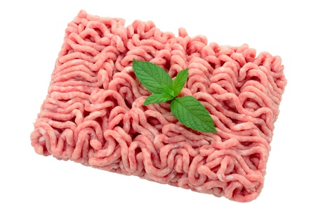 minced beef: minced pork and veal for burgers with sheet of mint cropped and isolated