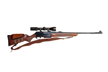 semiautomatic hunting rifle large-caliber equipped with optical viewfinder cut off and isolated Stock Photo - 13877747