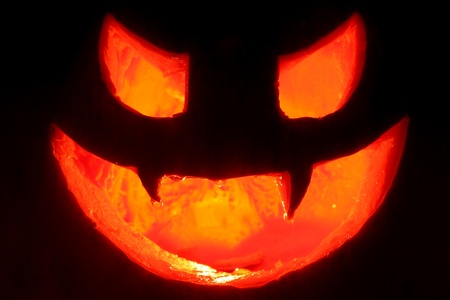 terrifying face made ​​hallowen pumpkin with candle inside illuminating dark background Stock Photo - 16255638