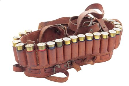 cartridge belt: hunting cartridge loaded with blank cartridges isolated
