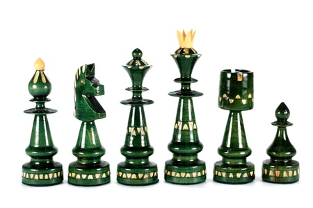 the rook: chess pieces queen bishop knight rook and pawn isolated on white