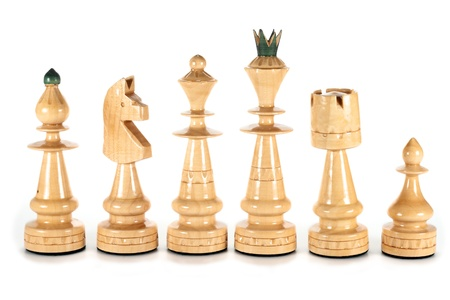 chess pieces queen bishop knight rook and pawn isolated on white photo