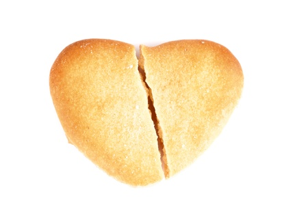 shaped biscuits broken heart for valentines day isolated on white photo