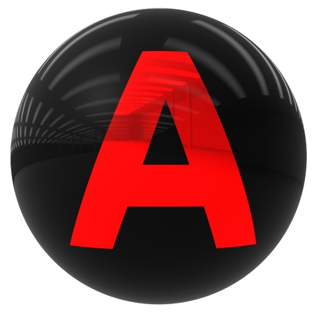3d black ball with the letter A isolated on white with clipping path photo