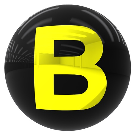 b ball: 3d black ball with the letter B isolated on white with clipping path
