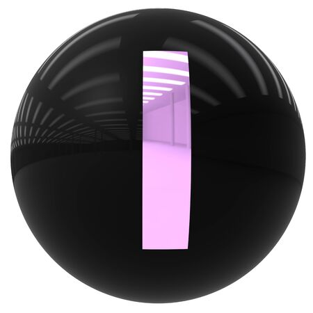 i nobody: 3d black ball with the letter I isolated on white with clipping path