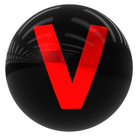3d black ball with the letter V isolated on white with clipping path photo