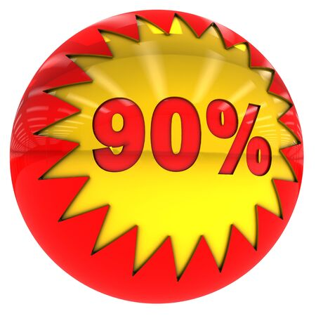 ninety: 3d sphere with star and ninety percent with clipping path and isolated on white Stock Photo