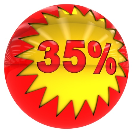 thirty five: 3d sphere with star and thirty five percent rate with clipping path and isolated on white