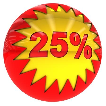 twenty five: Esfera 3d con las estrellas y el veinticinco por ciento de tasa con trazado de recorte y aislado en blanco