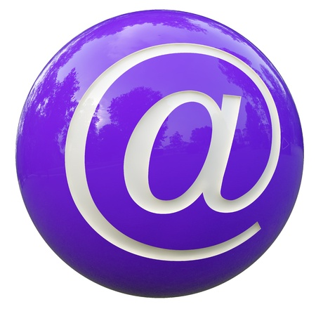 arroba: 3d purple ball with the letter arroba isolated on white with clipping path Stock Photo