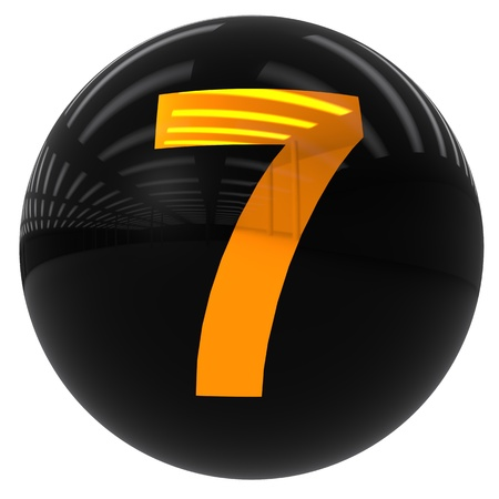 3d black ball with the number seven isolated on white with clipping path photo
