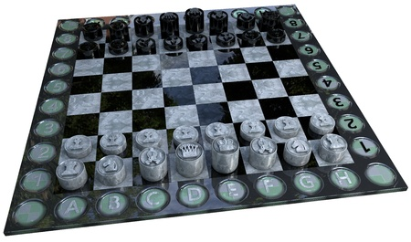 chess game made in 3d with marble textures isolated and with clipping path photo