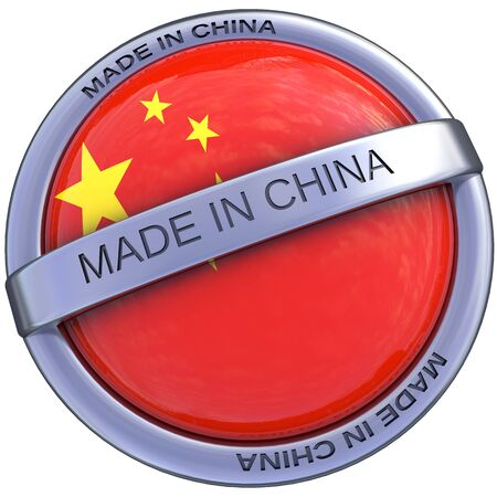made in china symbol in 3d isolated with clipping path and alpha channel photo