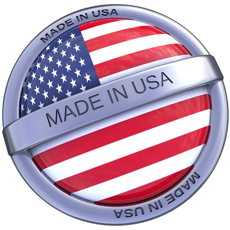 symbol made in usa america in 3d isolated with clipping path and alpha channel Фото со стока