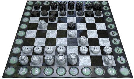 Spanish ruy lopez opening or done in 3d chess isolated with clipping path and alpha channel photo