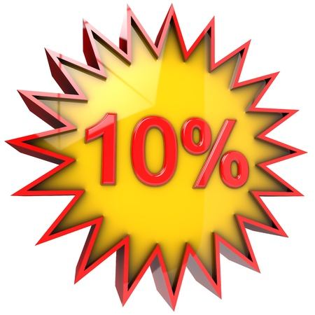 star path: star with ten percent discount 3d isolated with clipping path and alpha channel Stock Photo
