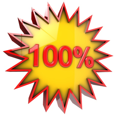 star path: star with one hundred percent discount 3d isolated with clipping path and alpha channel Stock Photo