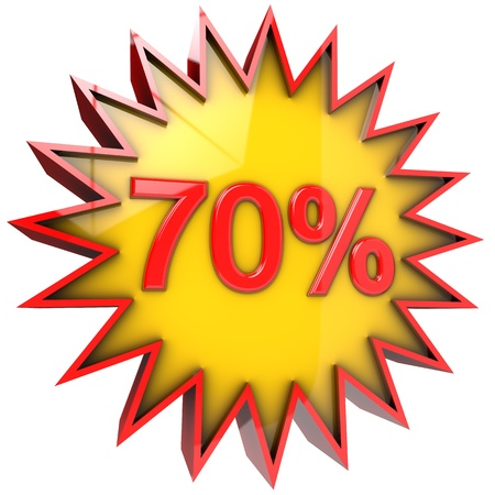 star path: star with seventy percent discount 3d isolated with clipping path and alpha channel