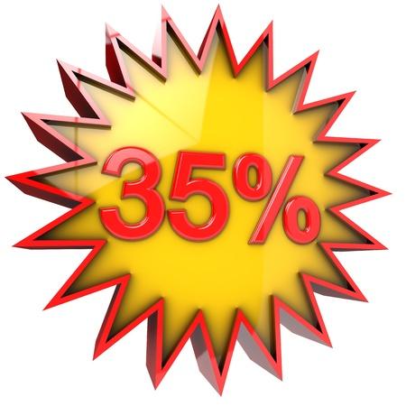 thirty five: sconto stella del trentacinque per cento in 3d isolato con tracciato di ritaglio e il canale alpha