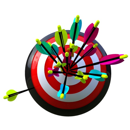 marksmanship: 3D simulation of a ball with target and arrows in the center with an error isolated and with clipping path