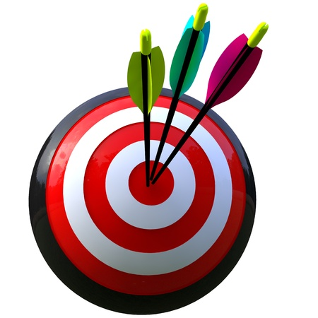 3D simulation of a ball target and three arrows in the center isolated and with clipping path